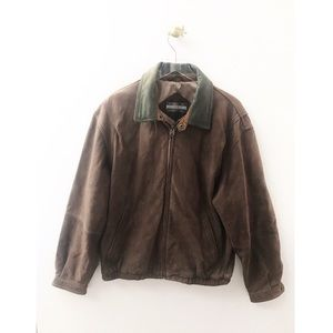 members only / brown leather bomber jacket zipper